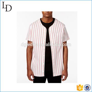 Listra bordada branco hóquei jersey camiseta logotipo personalizado e design para você