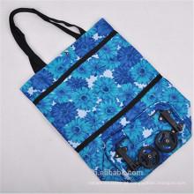 O saco dobrável bonito do trole da compra do saco do trole da compra da flor da cor roda o saco de compras do poliéster