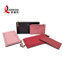 Genuine Leather Zip Around Wallet with Cute Hanging