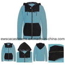 Suéter de cachemir puro de color menta para hombre con capucha