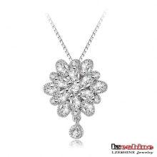 CZ Crystal Snowflake Pendant Necklace Wholesale (CNL0016-B)