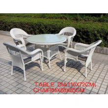 Round PE Rattan Dining White Furniture Set