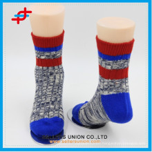 2015 new style Red and blue mixed colors warm knit cotton socks for adults