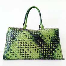 Brand Design Lady PU Woven Handbags Women Leather Luggage Bag (D1302)