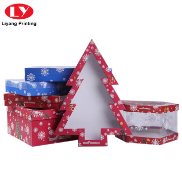 Custom Shape Christmas Tree Gift Box dengan Jendela