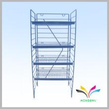 Custom Floor Standing Metal Wire Folding Tier Shelf for display beverage bottle water
