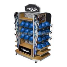Qualität gesichert 4-Wege-Display Stand, Pegboard Panel Holz Regal beweglichen Baseball Cap Display