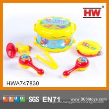 Самый популярный игрушечный музыкальный инструмент детей пластиковый набор ударных барабанов