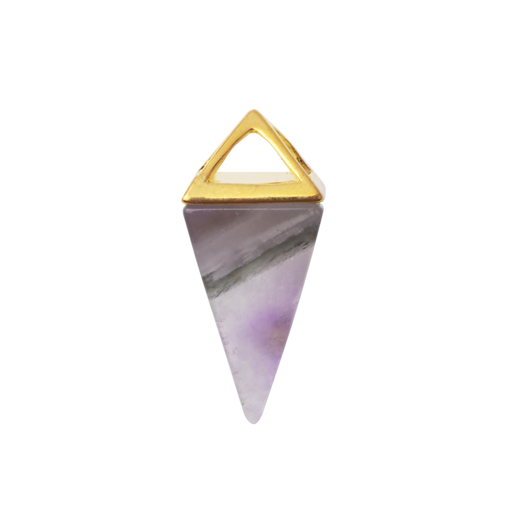 Amethyst Gold Triangle Necklace Pyramid Healing Pendant