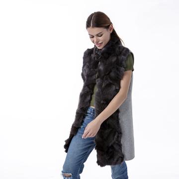 Fashion cashmere fur coat