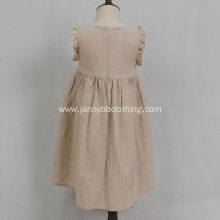 summer fashion casual solid linen dress for girls