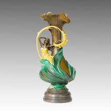 Vase Statue Pretty Girl Bronze Jardiniere Sculpture, Milo TPE-469 (B) / 538