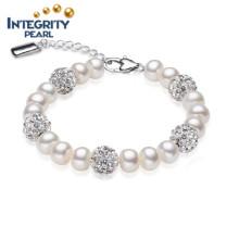 Pulsera de perlas auténticas Pulsera de perlas populares Pulsera de perlas de agua dulce de 8-9mm AAA