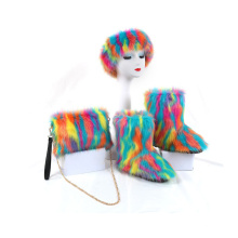 Warm fur Three-piece sets of colorful boots, headwear and bag boots and matching purse