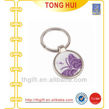 Round shape keyring metal butterfly