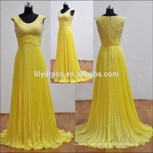 Yellow Pleated Sleeveless Floor Length Customized Chiffon Dress for Bridal Maid BM003 chiffon bridesmaid dress patterns 2014