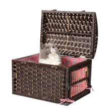 Stable 2 Door Pet Crate Metal Lock Wicker Pet Cat Small Animal Cage