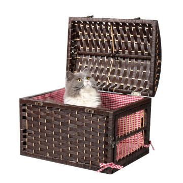 Panier d'osier d'animal familier de nature avec la cage d'élevage d'intérieur de cage d'exposition de chat de cage