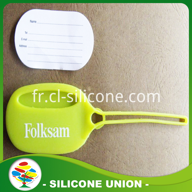 Ellipse yellow silicone luggage tag