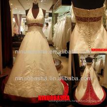 Вопрос-6264 Холтер V-образным вырезом свадебное платье вышивка атласная-линии свадебное платье 2012