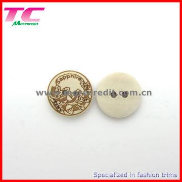 Custom 18mm 2 agujeros botón de madera para la camisa