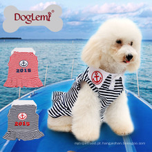 O cão feito sob encomenda novo do animal de estimação da mola do verão da listra da âncora veste o vestido do cão