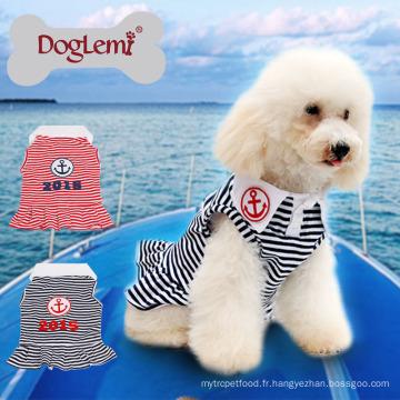 Vente chaude Cooling Ancre Stripe Été Printemps Pet Chien Chiot Robe Vêtements Chien T-shirt