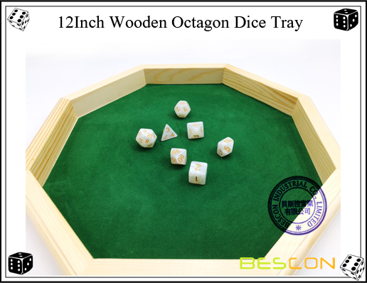 12Inch Wooden Octagon Dice Tray-3
