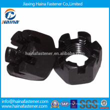 High strength black plated carbon steel castle nut