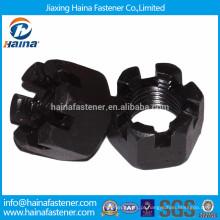 Porca de castelo de aço carbono chapeado preto de alta resistência