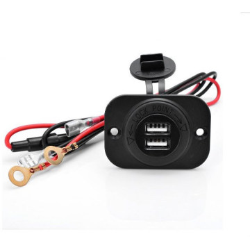 Boat Marine Carvans 12V Waterproof Power Outlet Cigarette Lighter Socket 2.1A Dual USB Charger Panel Flush Mount for Benelli Apr