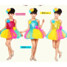 Children Girls Sequins Dress Fashion Dance Summer Kids Party Dress For Girls, gold swquin dress