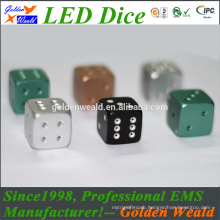 colorful LED 20mm aluminium alloy dice