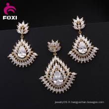 Ensemble de bijoux en laiton plaqué chaud chaud de vente 18k