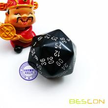 Bescon New Polyhedral Dice 60-sided Gaming Dice, D60 die, D60 dice, 60 Sides Dice, 60 Sided Cube of Black Color