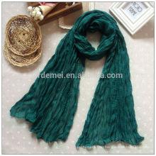 Креп полиэфир длинный лайм зеленый шарф