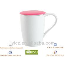 taza de té china de cerámica con infusor de té y tapa de silicona