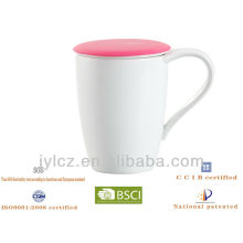 ceramic china tea cup with tea infuser and silicone lid
