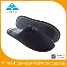 Zapatilla de gamuza de gamuza negra con suela TPR