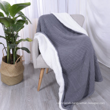 100% Polyester Double Layer Cable Knit Acrylic Sherpa Blanket