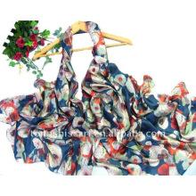 Flower print 100 polyester shawl