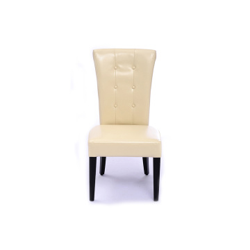 Tufted PU Leather Dining Chair With High Backrest