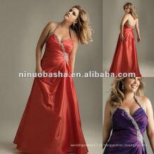 Taffeta Halter Beaded Evening Dress 2012