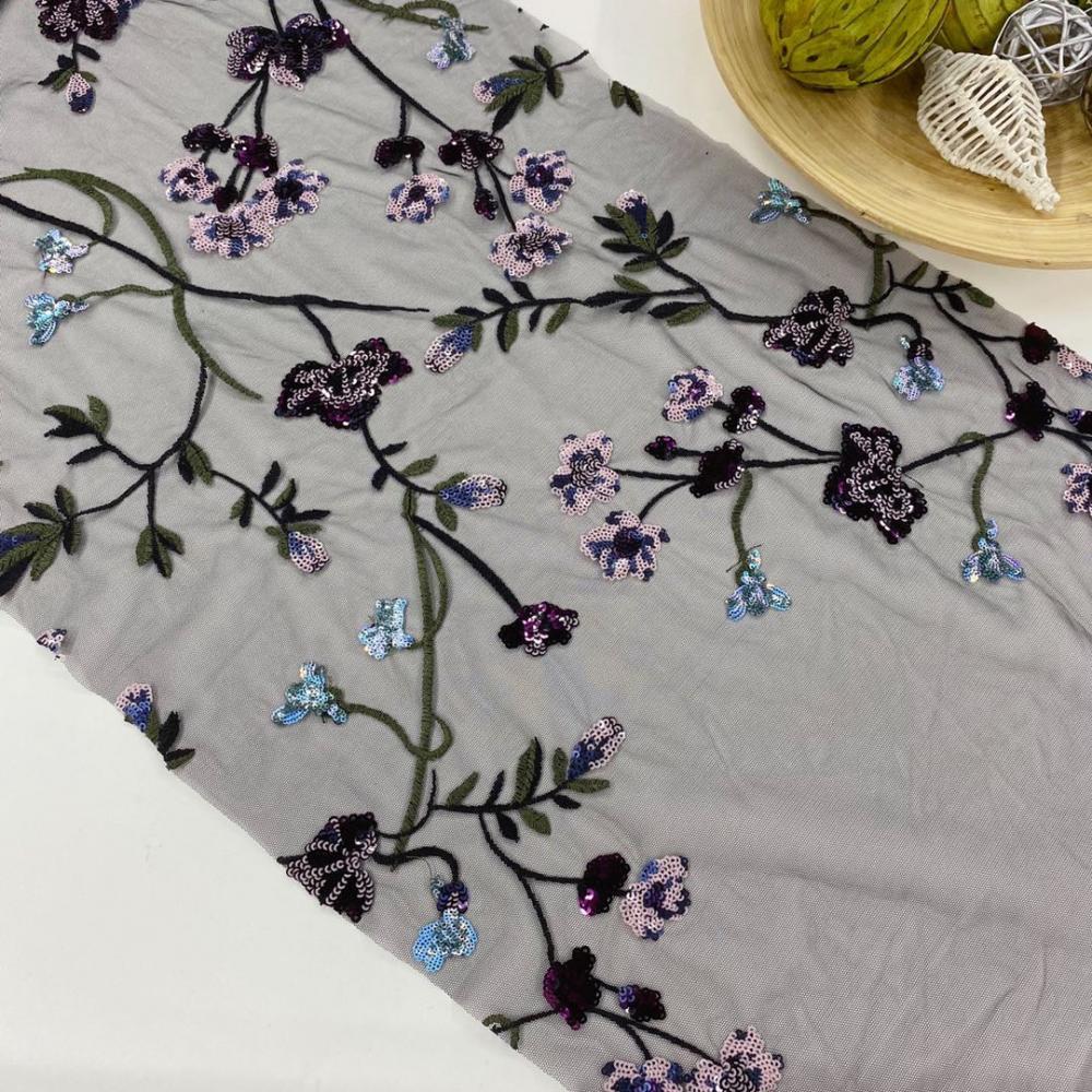 Multicolor Sequin Embroidery Fabric