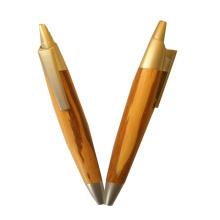 Esferográfica de bambu de escrita suave para presente de promoção
