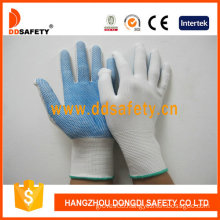 13 Gauge Bleach Nylon Seamless Gloves with Blue PVC Dots One Side (DKP411)