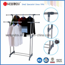 Adjustable DIY Double-Rod Extended Steel Cloth Dryer Rack Stand