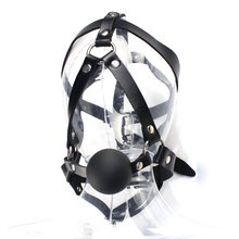 Black Soft Leather Bandage with Sex Gag Ball Sex Game Tool Ball Gag Popular Magic Sex Gag
