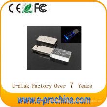 Wholesale Hot Sale Metal USB Flash Disk LED Crystal Flash Drive for Free Sample