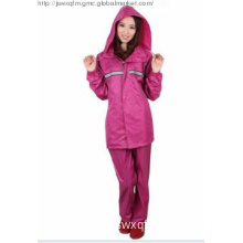 rose red polyester raincoat
